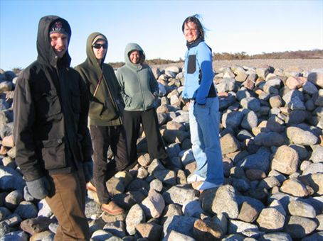 Skur, Diccon, me and Gunvor at a beach called Molen where there are stone viking burial mounds
