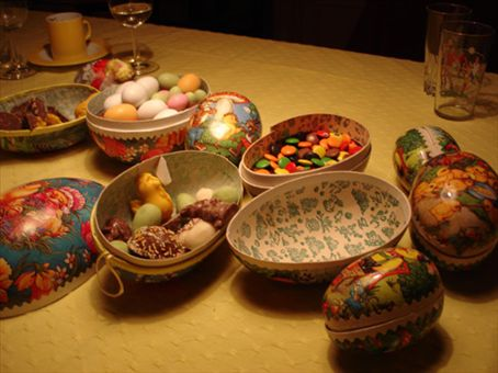 Traditional Norwegian cardboard eggs filled with marzipan and chocolate goodies!!