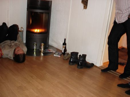 This is a random drunken game that Mark, Diccon and I made up on Xmas Eve when he was over.... we decided to share floor-sliding with the masses!