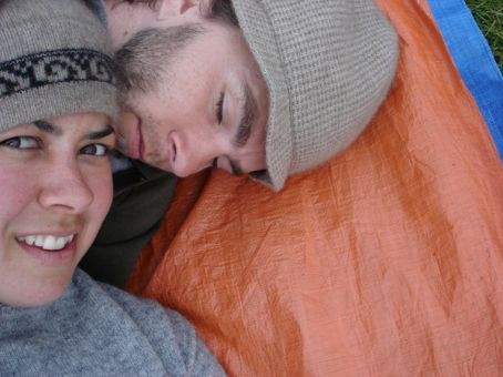 Crashed out on the tarpaulin after our 3 hour walk above Skogafoss