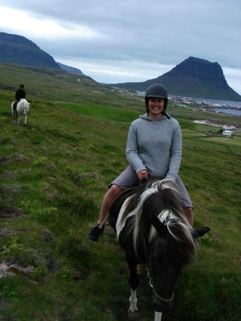 Sarah and I on our cute, woolly-looking Icelandic horses - my one even got up to a canter (without me having any control whatsoever!)