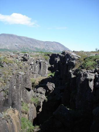 Pingvellir - site of the first gathering of the Icelandic parliament (apparently first in the world) and also a great rift valley which is sinking/pulling apart at a rate of 1.5cm/year! SW Iceland