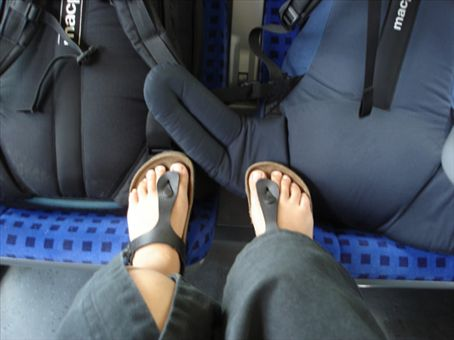 Kiwi packs and German shoes.... Bored on the train through Germany