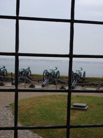 View across Oresund to Sweden from Helsingor castle (where Shakespeare set Hamlet)