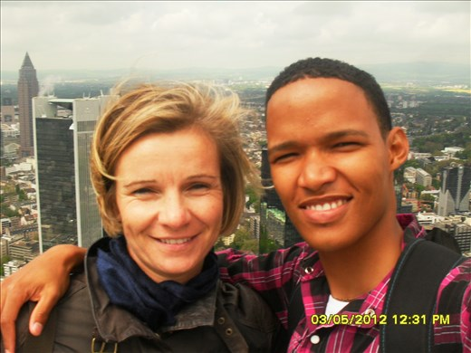 A photo of my Guest mom and I at the top of one of Frankfurt's tallest skyscrapers.
