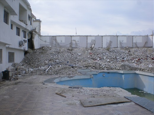 Everyone knows about the devastation of the Earthquake of Haiti in 2010. Here is part of a Hotel that was ruined from it.