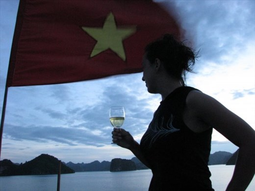 After Sunset Swimming on Junk Boat in Ha Long Bay