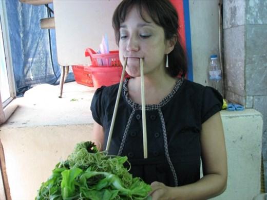 Walrus Girl Eating Bun Cha in Hanoi