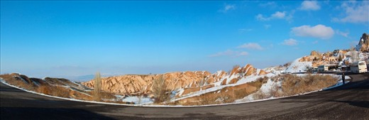 Cappadocia hill. A panoramic Cappadocia hill surrounded by curved roads