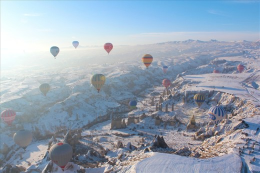 White sugar. Taken from Hot air baloon around 7 am at Cappadocia, Turkey. It seems that earth covered by white sugar.