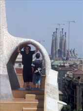 James posing on the roof of the Casa Milà with Sagrada Familia in the background: by rhiannon, Views[418]
