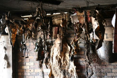 Faith Healer's place: Various crap hanging from the ceiling