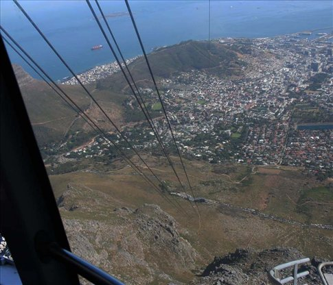 Looking down from the cable car