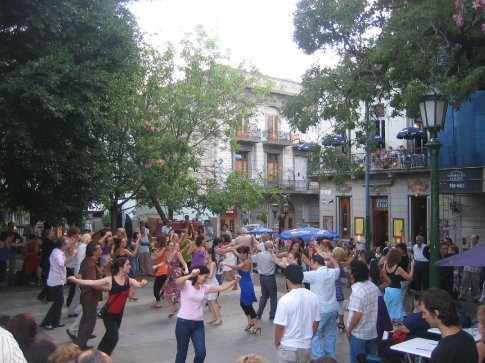 The public dancing in the square