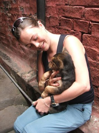 Our new favourite temple puppy. we asked 'how much?' but the owner just laughed. I guess he thought we were joking.