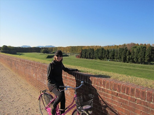 Cycling the top of Lucca's wall on a Sunday