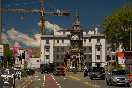 Twin Towers, is compose of  an old clock tower which survive the quake and a crane which is a tool for rebuilding the city. located in one of Christchurch's best-known designer streets, Victoria St, is still on business.