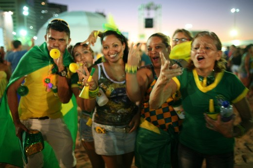 No one is more patriotic than Brazilians during World Cup.  The country is bedecked in the national colors as fans congregate in the public viewing areas to watch Brazil's opening match.