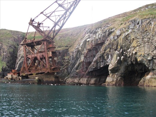 The Samson, a crane ship, was wrecked on Ram Head, near the small village of Ardmore, Co. Waterford, during a December storm in 1987 as it was being towed from Liverpool to Malta.  It sits under the cliffs of St. Declans Walk where it guards the entrance to some sea caves.