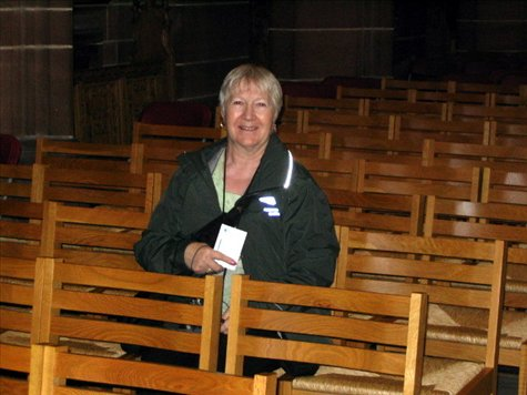 Sandra sitting in the same seat as she did in 1962 when she was confirmed in the cathedral