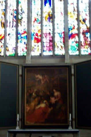 Rubens painting behine altar in Kings College chapel