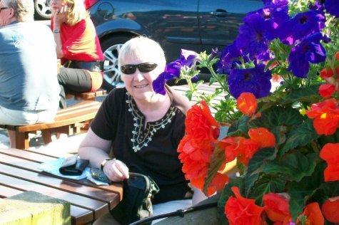 Sandra in the beer garden of the Sun Inn
