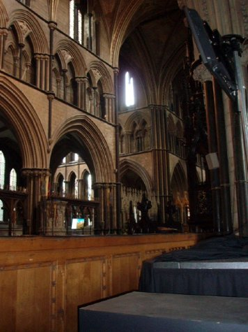Inside Worcester cathedral