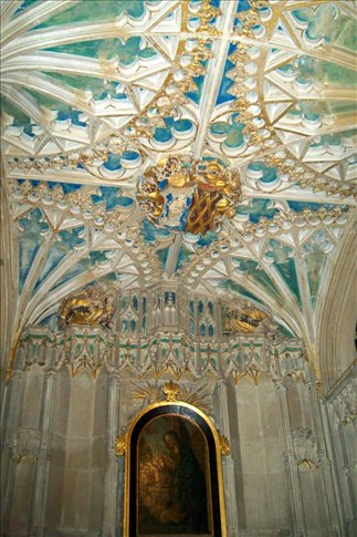 Detail of ceiling from small side chapel in Salisbury cathedral