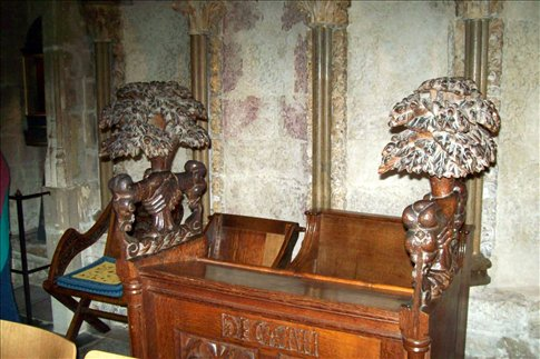 Prayer desk used in marriage services - note clasped hands!