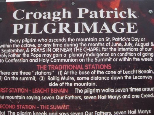 Directions on how to do the Pilgrimage up Croagh Patrick.