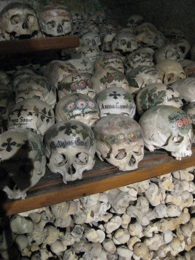 Skulls at a church in Hallstatt.