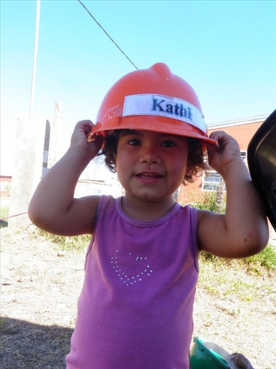Little Macarena, the daughter of the family whose house I was helping to build, along with 16 other volunteers, as part of a Habitat for Humanity brigade