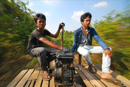 Hold on tight! The Bamboo train (Norry) speeds up to 50KPH!