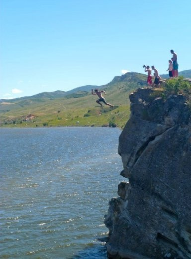 Cliff jumping in my neck of the woods- 