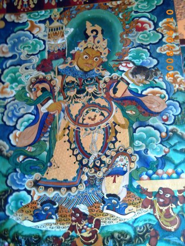Taknha paintings on walls of Rumtek Monastery