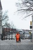 Council worker stands out from the grey tones of winter in the city: by sabinarysnik, Views[264]