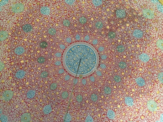 Hand painted dome ceiling in Topkapi Palace.....with gold leaf!