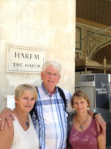 Outside the Harem entrance at Topkapi Palace. Bruce seems happy to have his 2 sultanas with him.
