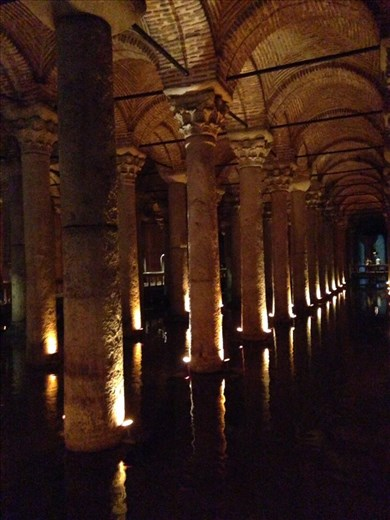The Basilica Cistern from Justinian's time- 500 A.D. Takes up 9800 square meters and is still in use occasionally. Very impressive and cool....literally.