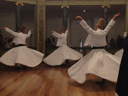The dervishes are Sufis and have been 'whirling' for a 1000 years. It was so moving I had gooses bumps and tears in my eyes the whole time.