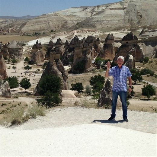 At the Goreme open air museum. B and the Fairy Chimneys. :)