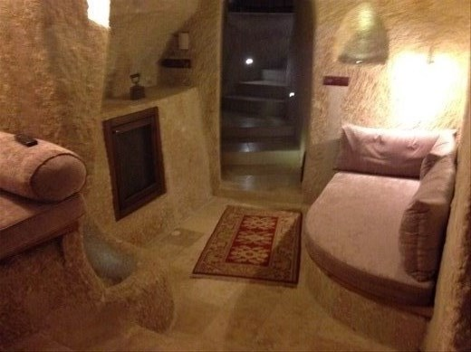 Our cave hotel room. It's a new cave....only 250 yrs old. Our triple suite consists of three chambers. Delightful!