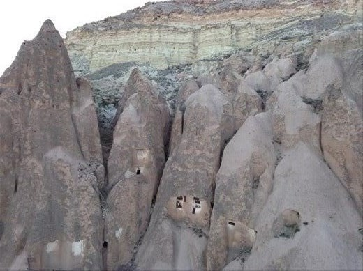 Fairy Chimneys at eye level from the balloon. We got quite close to,them. Yikes!