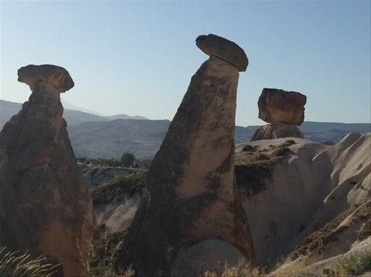 Different type pinnacles -- these are called the mushroom rocks.