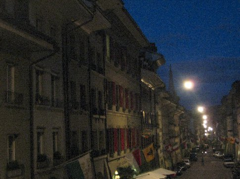 Night time street scape from the hostel.