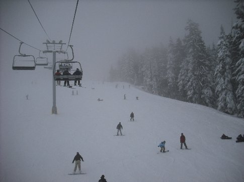 Heading up to the top of a run at Cypress mountain. It was so sunny just moments before then the fog set in