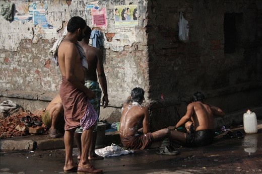 Street bathing in Kolkatta, India,