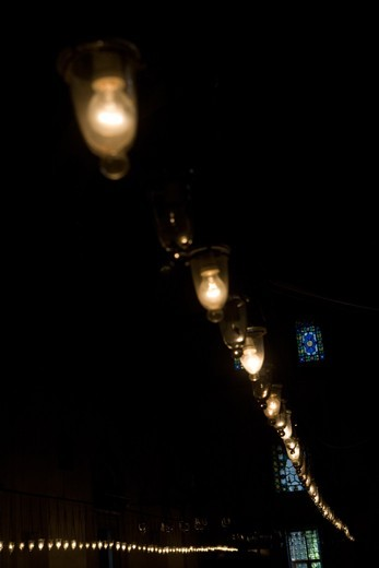 2 strings of lights in a Damascene mosque