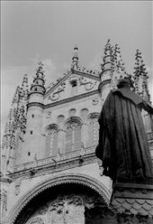 The glamorous old cathedral and the statue of the Father looking at it. It is as if he is guarding and looking after his house, as he did in the past, as he is doing it now and as he will do in eternity.: by salamanca, Views[126]