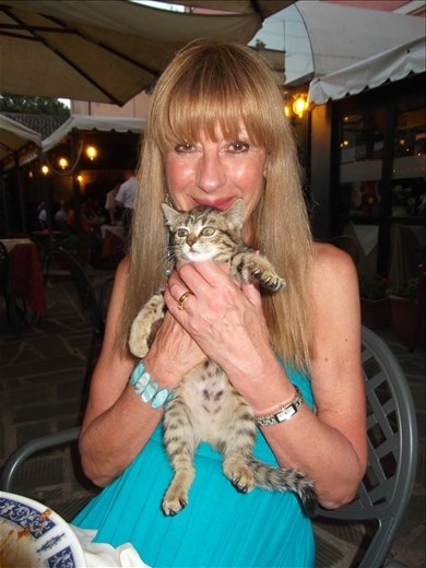Italy has SO many stray cats, this little kitten had found a home in the restaurant La Cantina in Castiglione del lago.